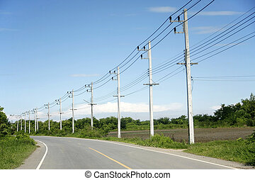 wire pole - row of wire pole side road on countryside withe...