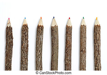 Row of wooden pencils on isolated white background.