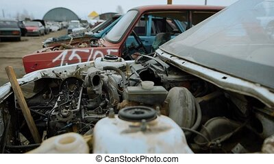 View of plenty of destroyed cars on scrapyard all with ruined engines and parts missing.