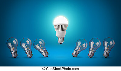 LED bulb. - Row with light bulbs and LED bulb.