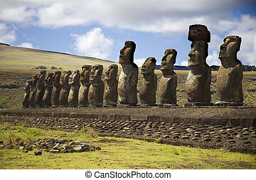 statues at easter island - row with statues at easter island