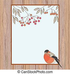 Rowan and bullfinch in a frame
