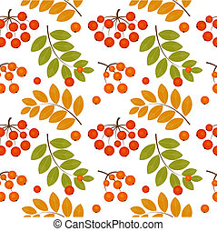 Rowan berry seamless - Ash berry seamless pattern. Vector...