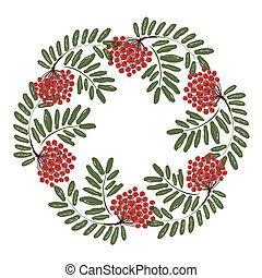 Rowan branch with berries, frame for your design