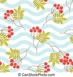 Rowanberry branch seamless pattern. Vector background -...
