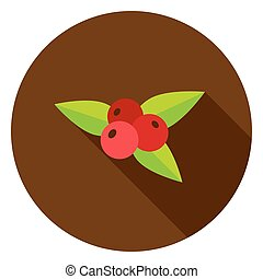 Rowanberry Circle Icon. Vector Illustration. Nature Object.