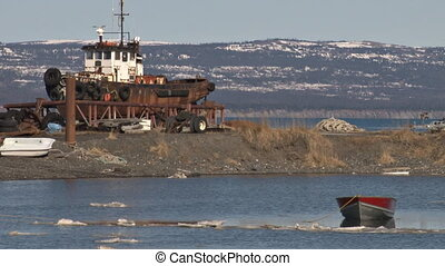 Rowboat and Tug 1 - Potential fishing industry B-roll....