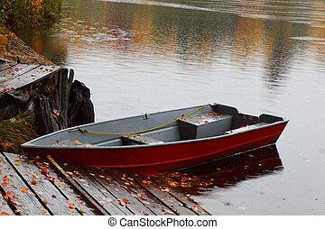 Rowboat at Lower Tahquamenon Falls in Autumn