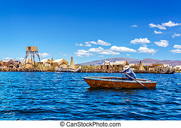 rowboat, auf, see titicaca