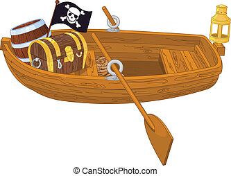 Rowboat - Illustration of wooden pirate boat
