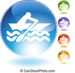 Rowboat Crystal Icon - Rowboat crystal icon isolated on a ...