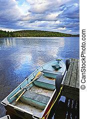 Rowboat docked on lake