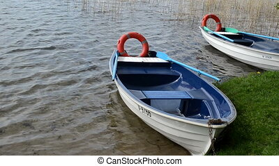 rowboat lifebuoy water - Blue rowboat with lifebuoy moored...
