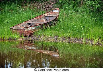 rowboat, rostiges , altes