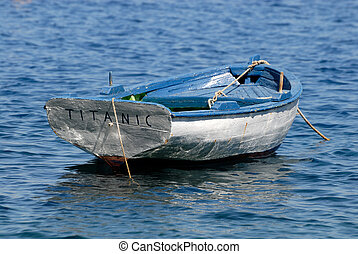 rowboat, titanic, in, griechenland