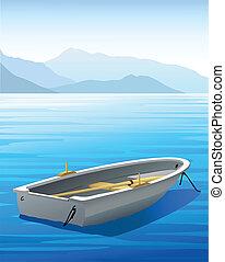 rowboat, -, vektor