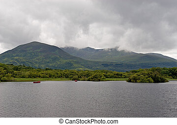 Two rowboats on Lough Leane in Killarney National Park, Ireland