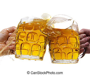 Two people aggressively toasting with beer and breaking a mug