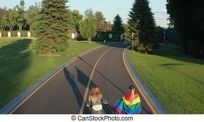 rower, antena, para, dróżka, lgbt, strzał, jeżdżenie na rowerze