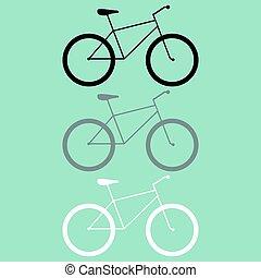 rower, biały, czarnoskóry, szary, icon.