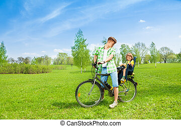 rower, człowiek, dziecko
