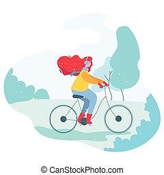 rower, dziewczyna, zima, park