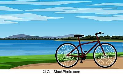 rower, eps, jezioro, parking, 10