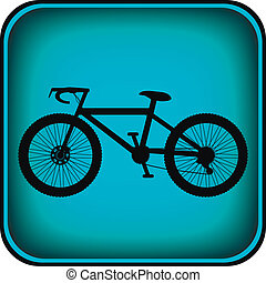 rower, ikona, na, skwer, internet, guzik