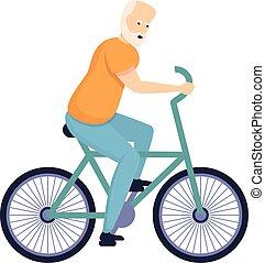rower, ikona, starszy człowiek, styl, rysunek