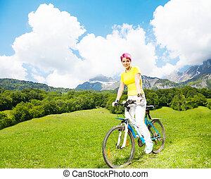 rower, kobieta, młody