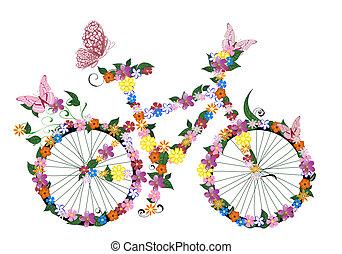 rower, kwiaty