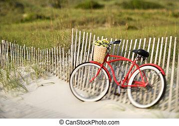 rower, na, plaża.