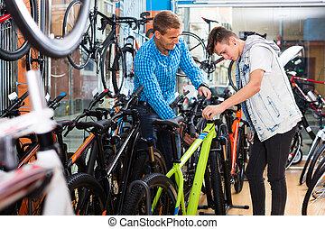rower, ojciec, wybierając, syn, store.