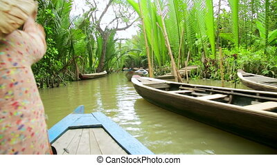 Rower Paddle Canoe at Majestic Gorgeous Mekong River, ...