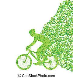 Rower, Pojęcie, rower, barwny, trójkątny, Ilustracja,...