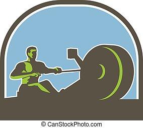 rower, retro, máquina, meio círculo, remar