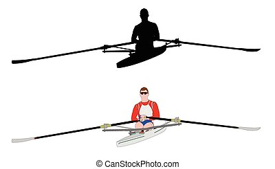 rower silhouette and illustration - vector
