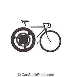 rower, sylwetka, odizolowany