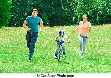rower, syn, ich, wyścigi, rodzice, jeżdżenie