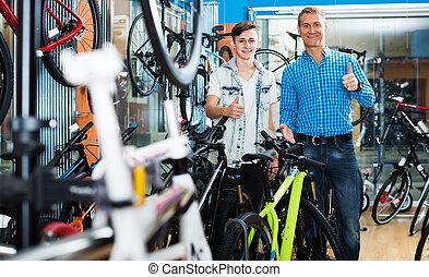 rower, teenage, syn, ojciec, zaopatrywać