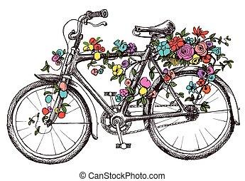 rower, z, kwiaty, zaprojektujcie element