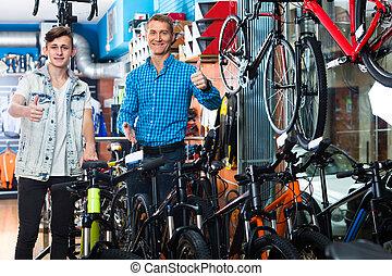 rower, zaopatrywać, ojciec, teenage, syn
