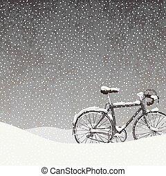rower, zima, ilustracja, śniegowa scena, spokój, pokryty
