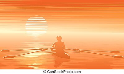 Rowers at sunset. - Horizontal vector illustration of rowers...