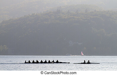 Rowers on row boat, Annecy lake, france