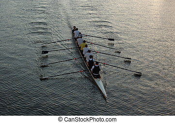 Rowers on the river - Early morning rowers training on the...