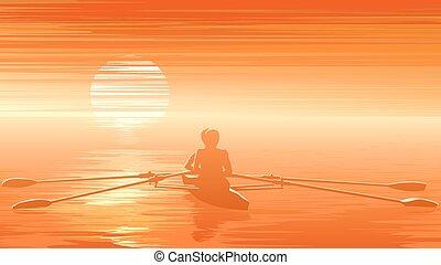 rowers , sunset.
