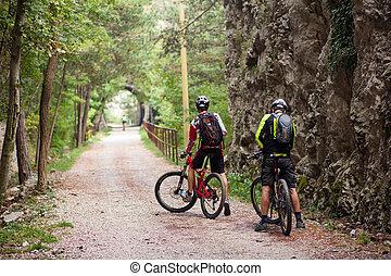 rowerzysta, górski rower, ślad, jeżdżenie