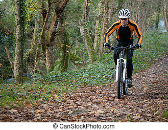 rowerzysta, górski rower, las, jeżdżenie