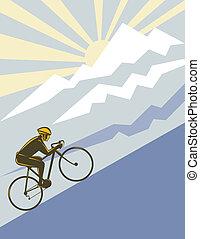 rowerzysta, jeżdżenie, do góry, przedimek określony przed rzeczownikami, góra
